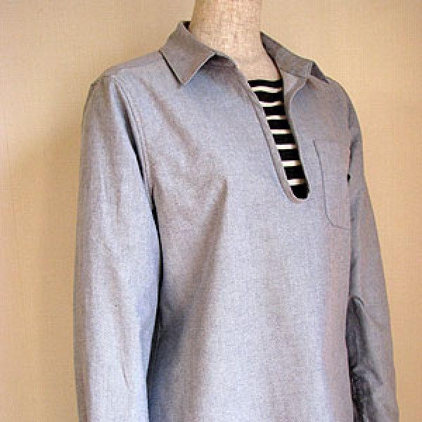 画像1: レディースプルオーバーシャツ (1)