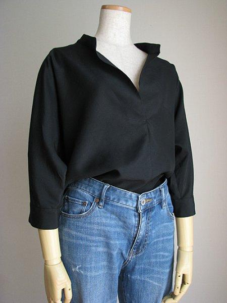 画像1: 着やせスキッパーシャツ (1)